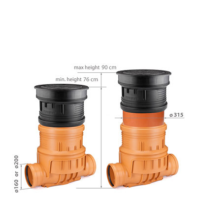 Height adjustable wells with backwater valve